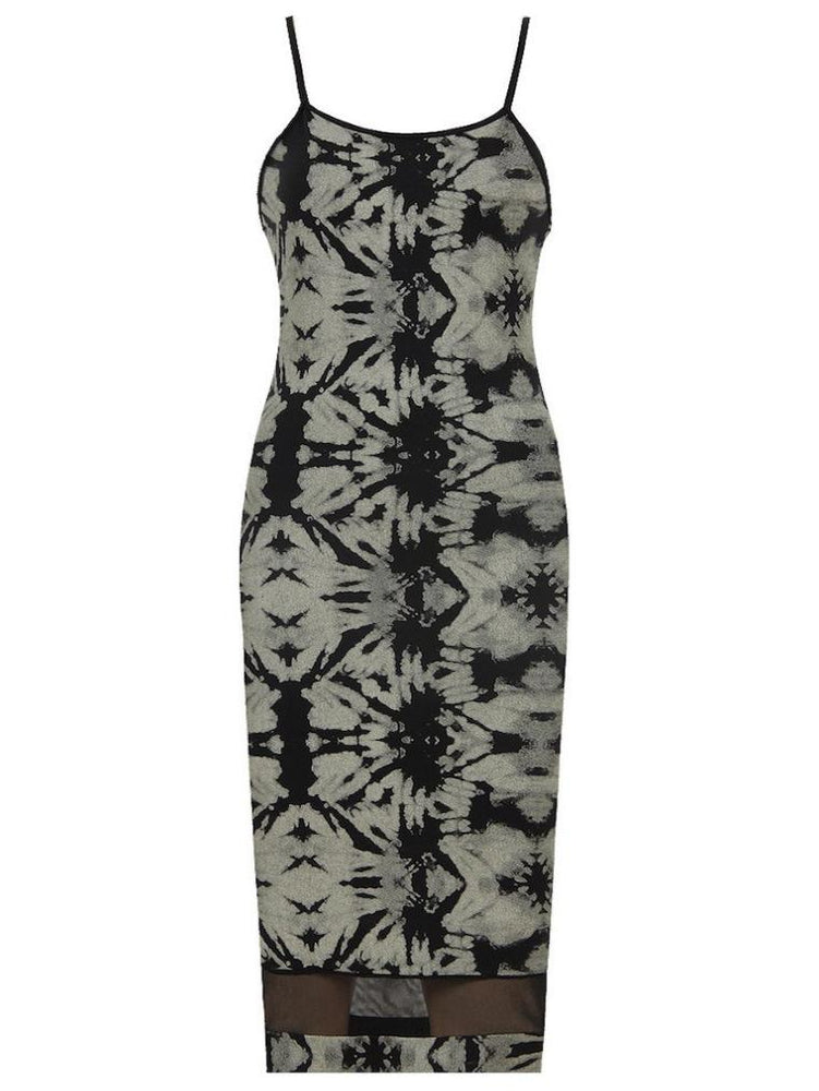 MULTIPRINT BOTTOM MESH DETAIL MIDI DRESS