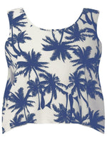 PALM TREE CROP TOP OCEAN BLUE - Fashion Trendz