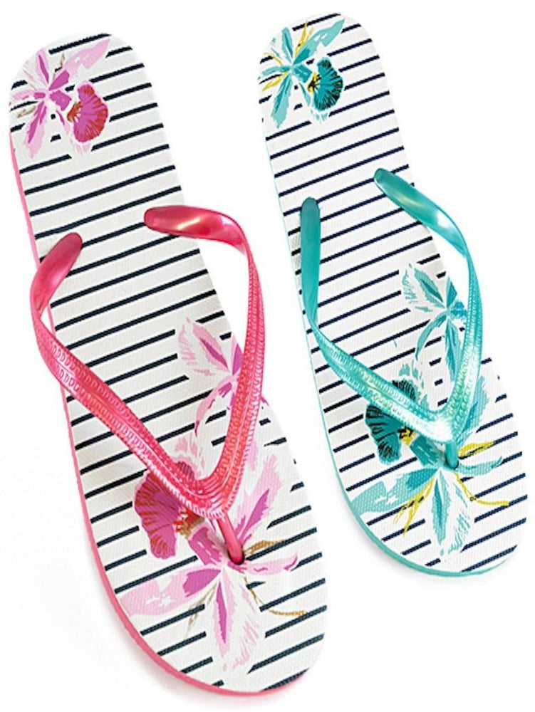 PIN STRIPE FLOWER PRINT FLIP FLOP - Fashion Trendz