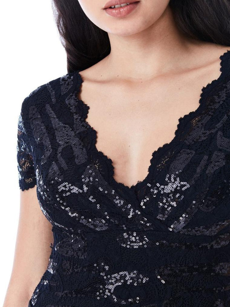 SEQUINED LACE SHORT SLEEVE BODYSUIT - Fashion Trendz