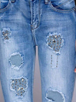 STUD & DIAMANTE TRIM SKINNY JEANS - Fashion Trendz