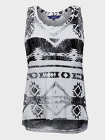 ZEST LADIES LONG LINE PRINTED VEST TOP BLACK