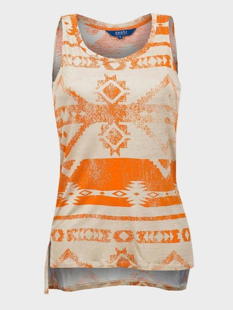 ZEST LADIES LONG LINE PRINTED VEST TOP ORANGE - Fashion Trendz