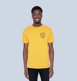 BE KIND - in a world where you can be anything - Men's Ethical T-shirt - Yellow