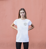BE KIND tee - in a world where you can be anything - Women's Ethical T-shirt - White