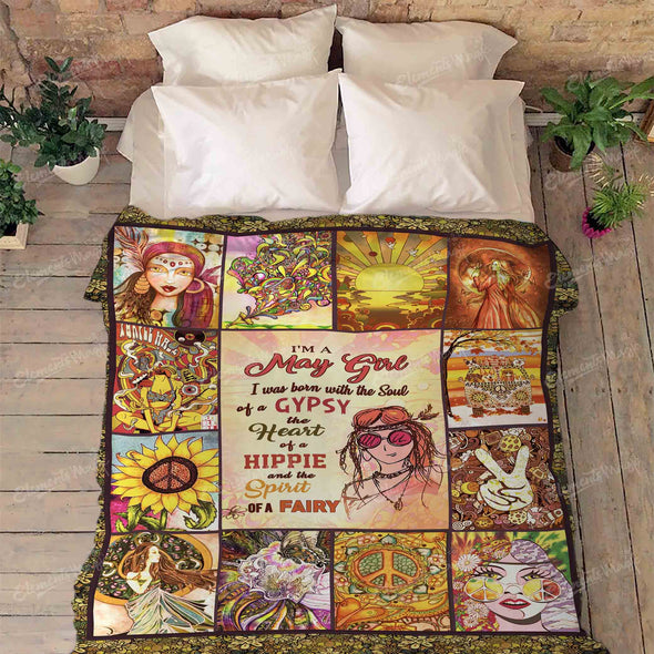 """May Girl Born With Gypsy Soul, Hippie Heart and Fairy Spirit"" Premium Blanket"