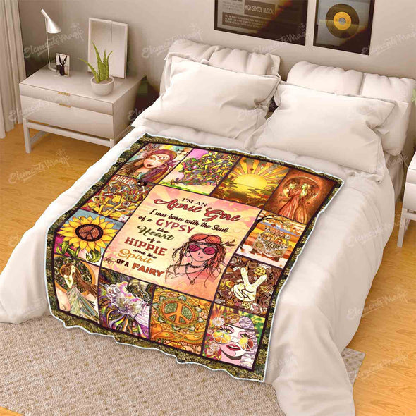 """April Girl Born With Gypsy Soul, Hippie Heart and Fairy Spirit"" Premium Blanket"