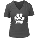 Who Rescued Who? Women's V-Neck
