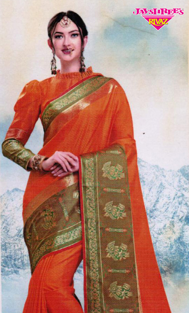 Deep Orange & Gold Emb Sari