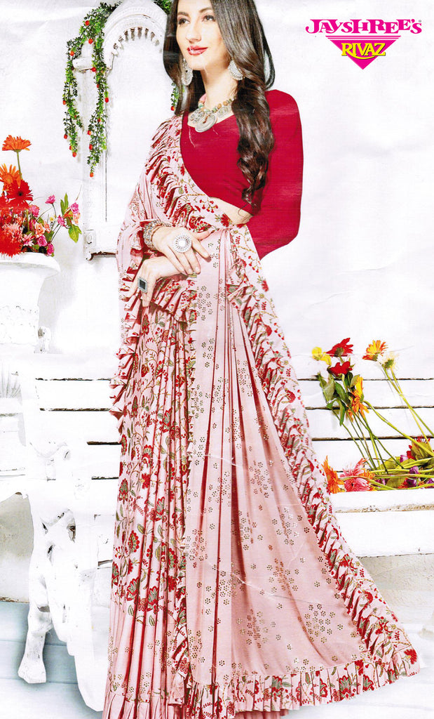 Mink & Red Frilled Floral Emb Sari