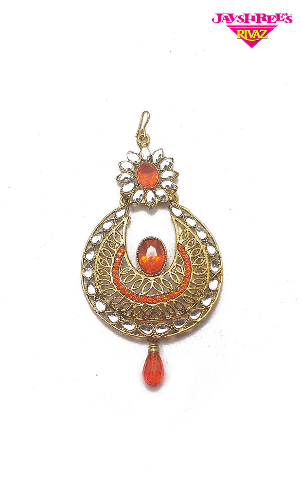 Orange & Gold Stone Work Sirbandi
