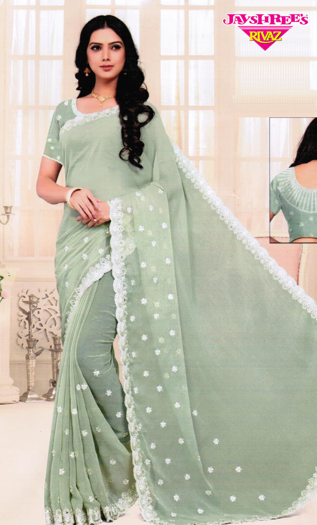 Light Mint & Cream Emb Sari