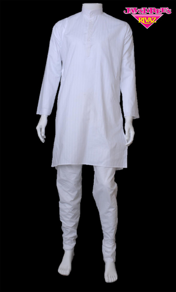 White Striped Kurta Set