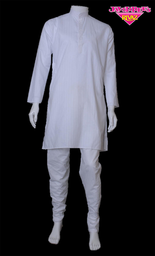 White Stripped Kurta Set