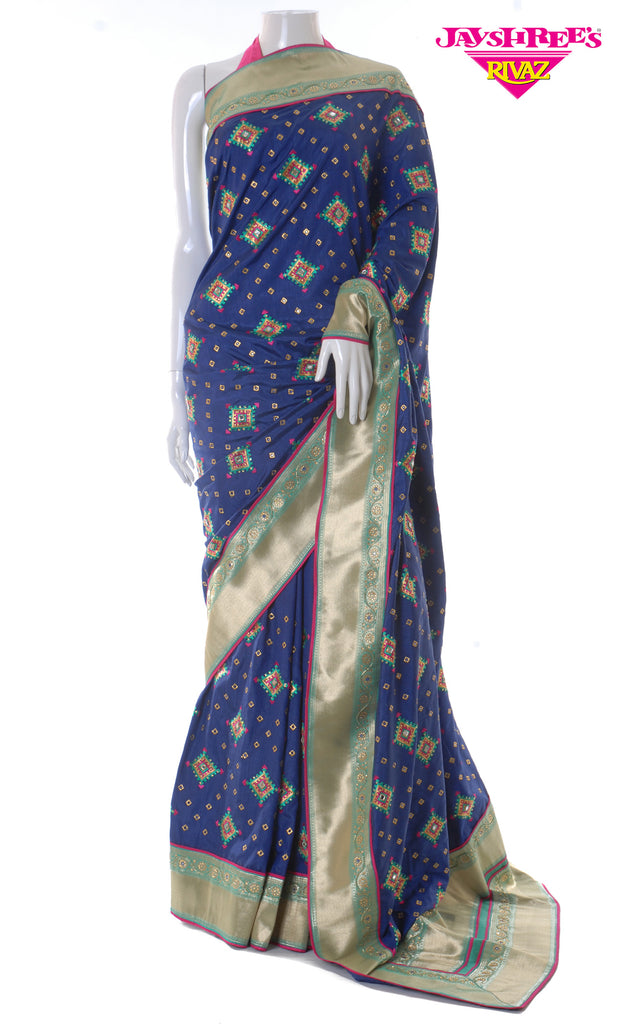 Deep Navy Blue & Bright Cerise Silk Sari