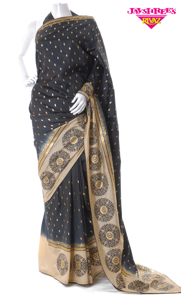 Black & Cream Silk Sari