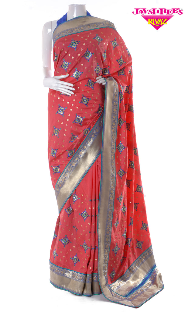 Deep Coral & Royal Blue Silk Sari