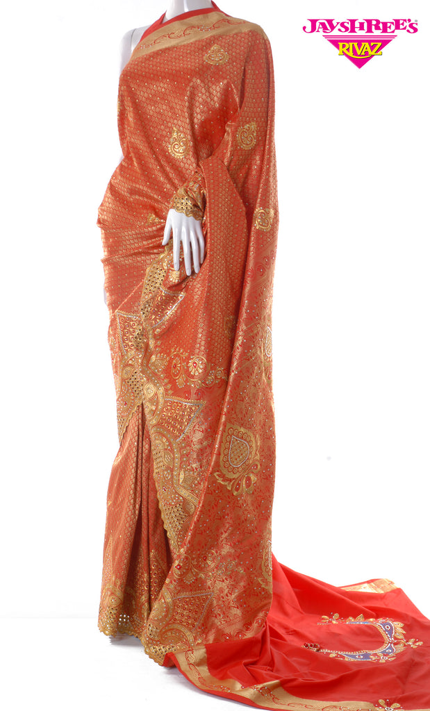 Red & Gold Emb Sari