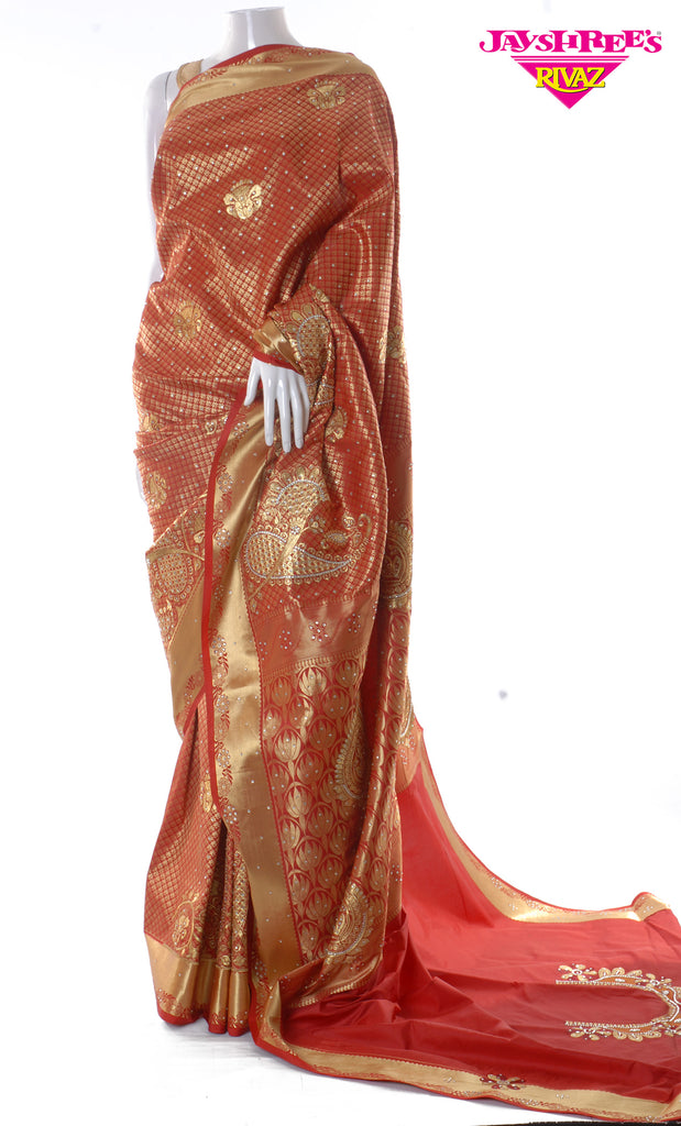 Light Maroon & Gold Emb Sari