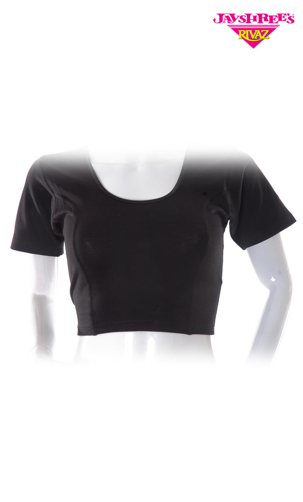 Black Cotton Stretch Blouse