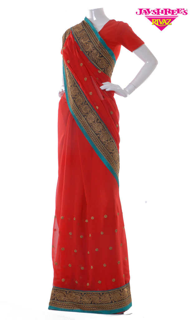 Red & Teal Emb Sari