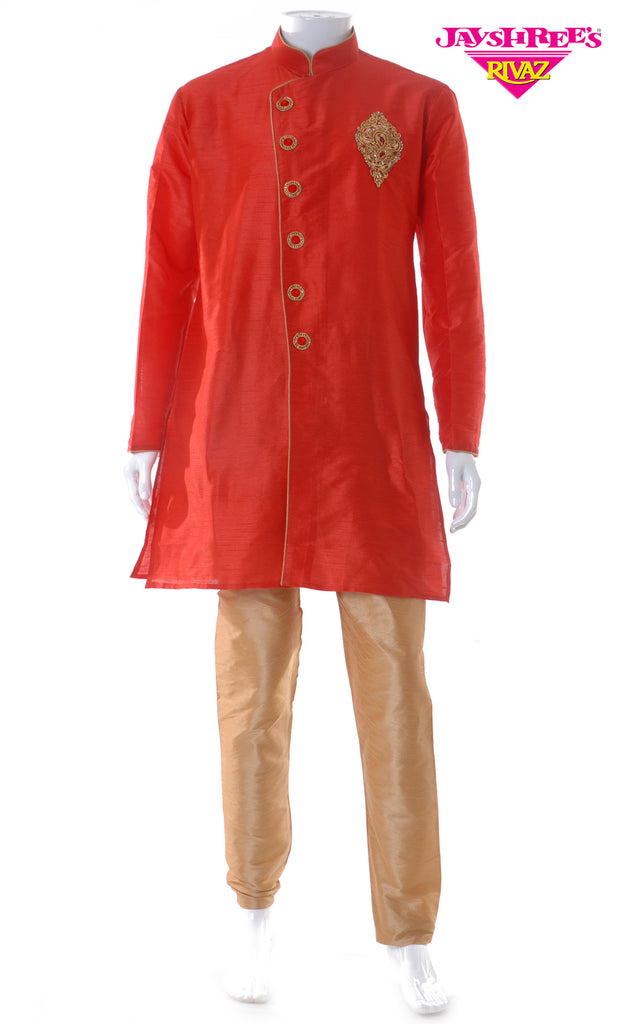 Bright Red & Bronze Emb Kurta Set