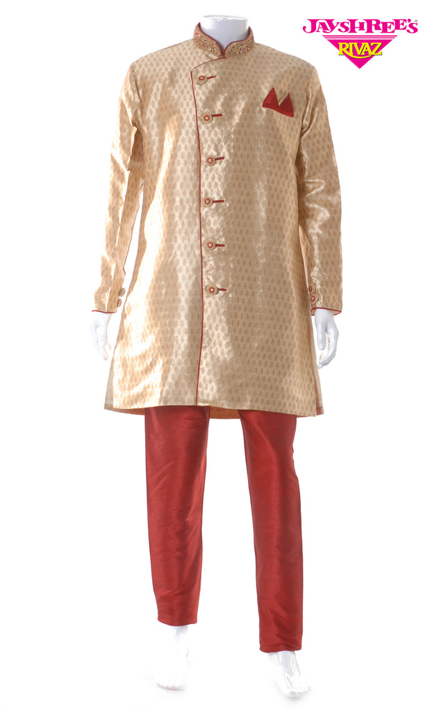 Deep Cream & Maroon Emb Kurta Set