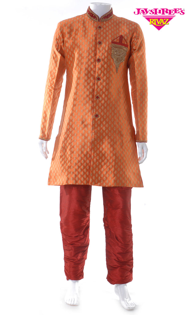 Burnt Orange & Maroon Emb Kurta Set