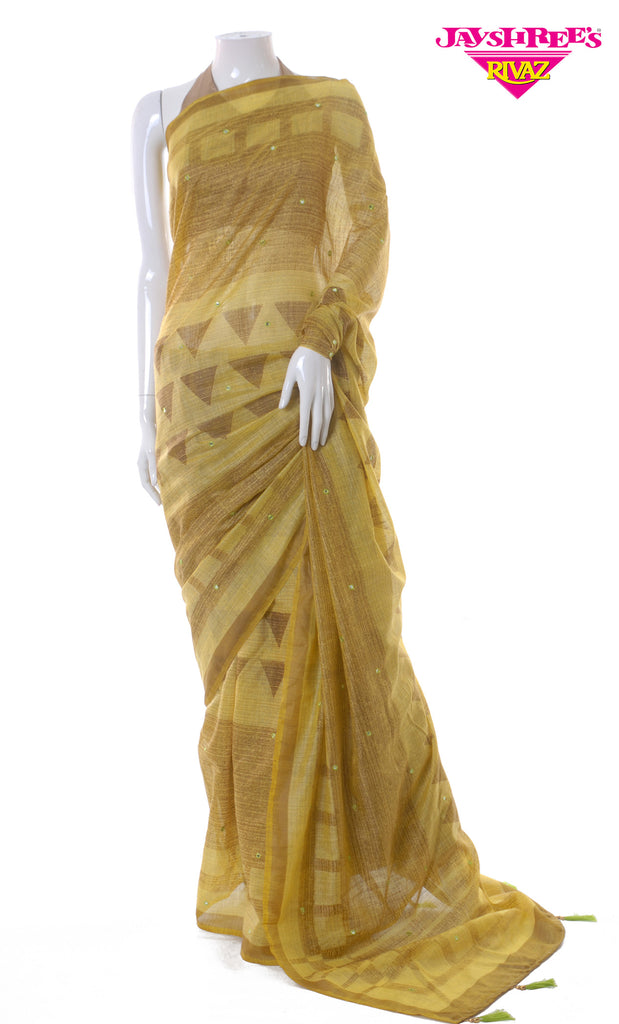 Light Khaki & Olive Cotton Printed Sari