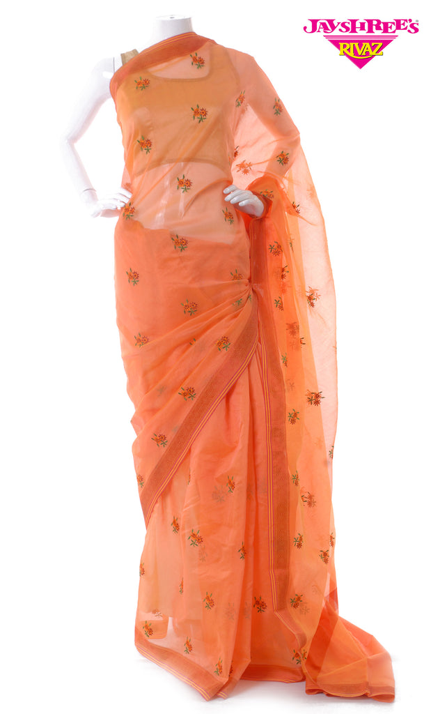 Deep Orange Cotton Emb Sari