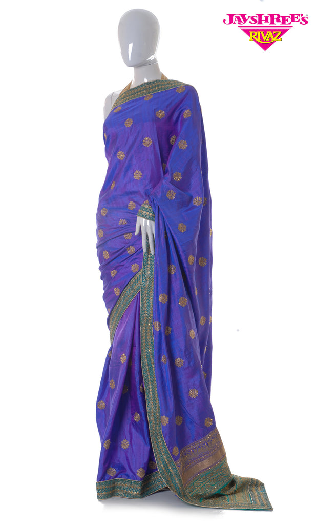 Metalic Purple & Teal Emb Sari