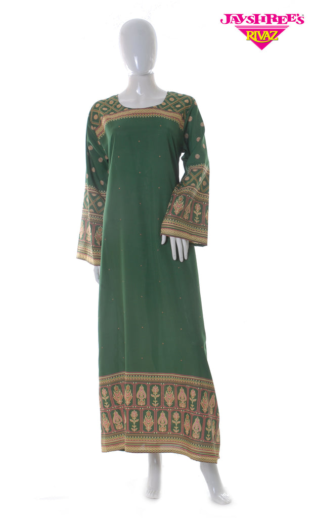Green Printed Kaftan