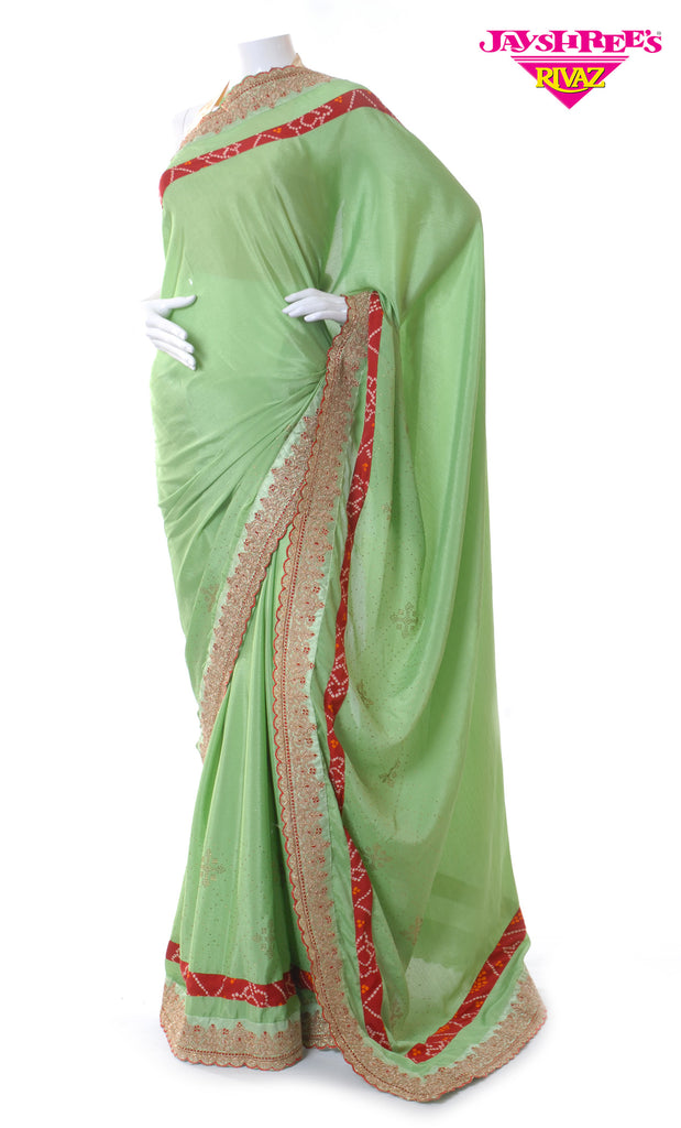Light Moss Green Emb Sari