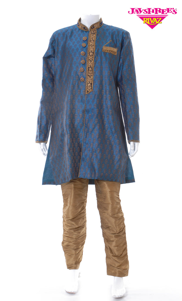 Blue & Navy Emb Kurta Set