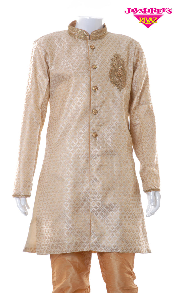 Cream & Gold Emb Kurta Set