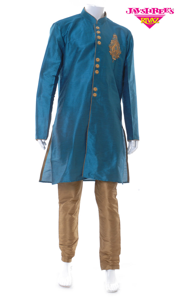 Teal Blue & Bronze Kurta Set
