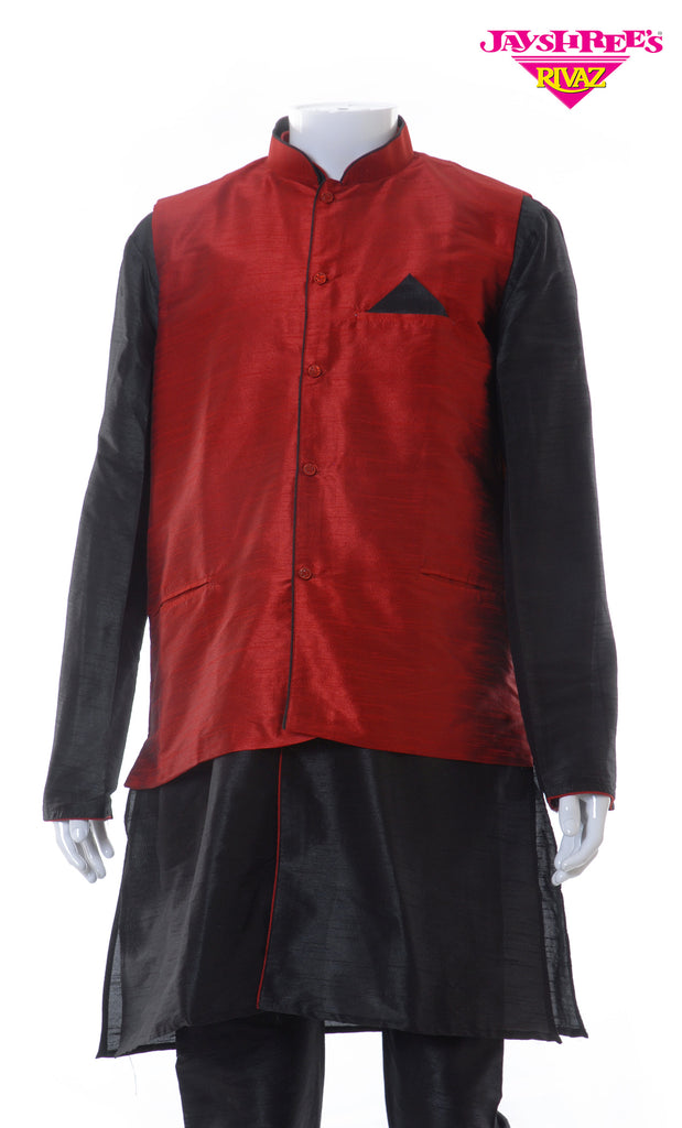 Black & Red 3 Piece Kurta Set