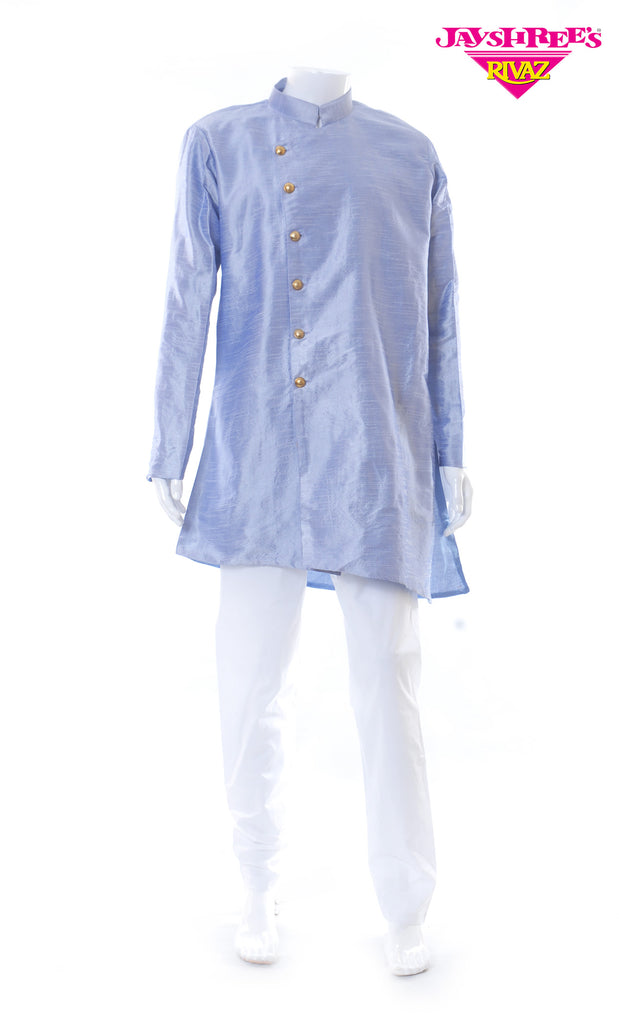 Powder Blue & White Kurta Set