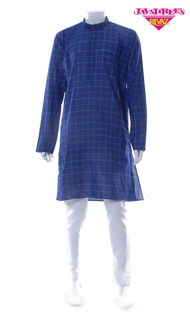 Deep Blue & White Kurta Set