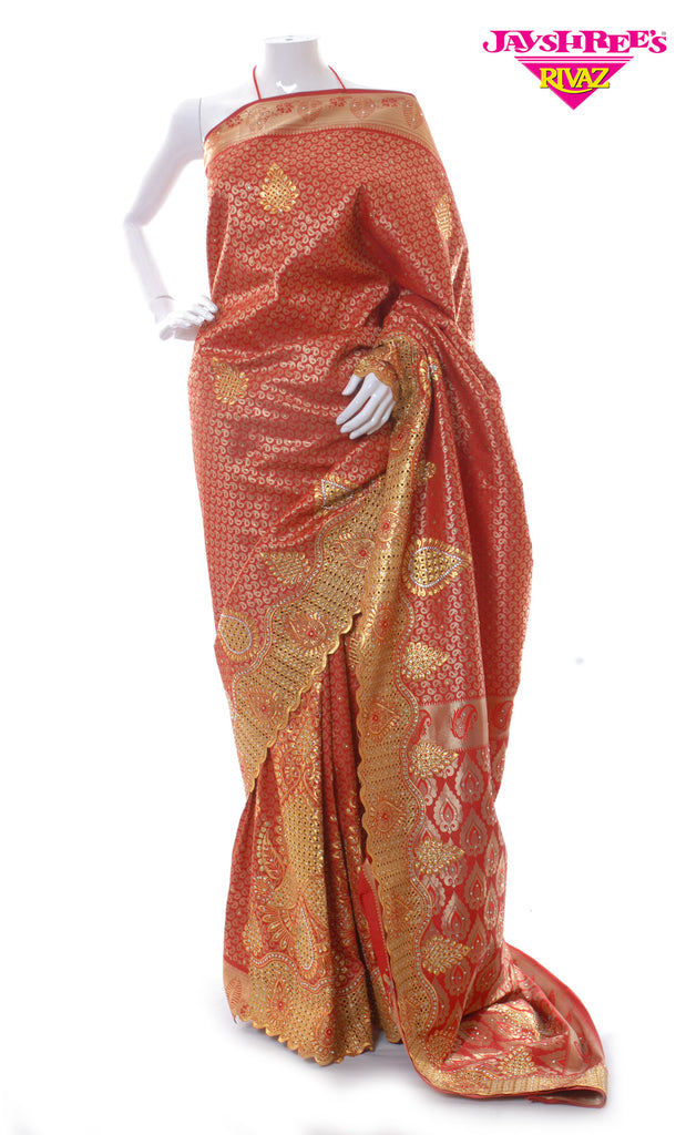 Gold & Blood Red Woven Sari
