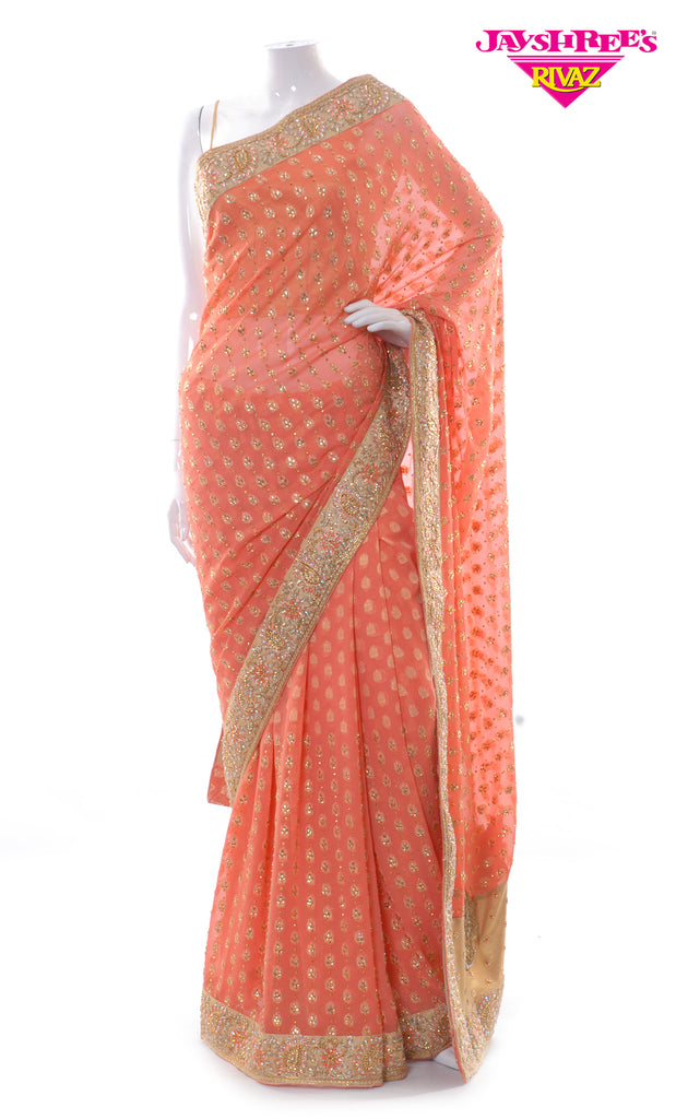 Light Peach & Gold Emb Sari