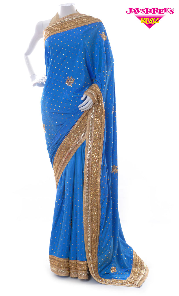 Egyptian Blue & Bronze Gold Emb Sari