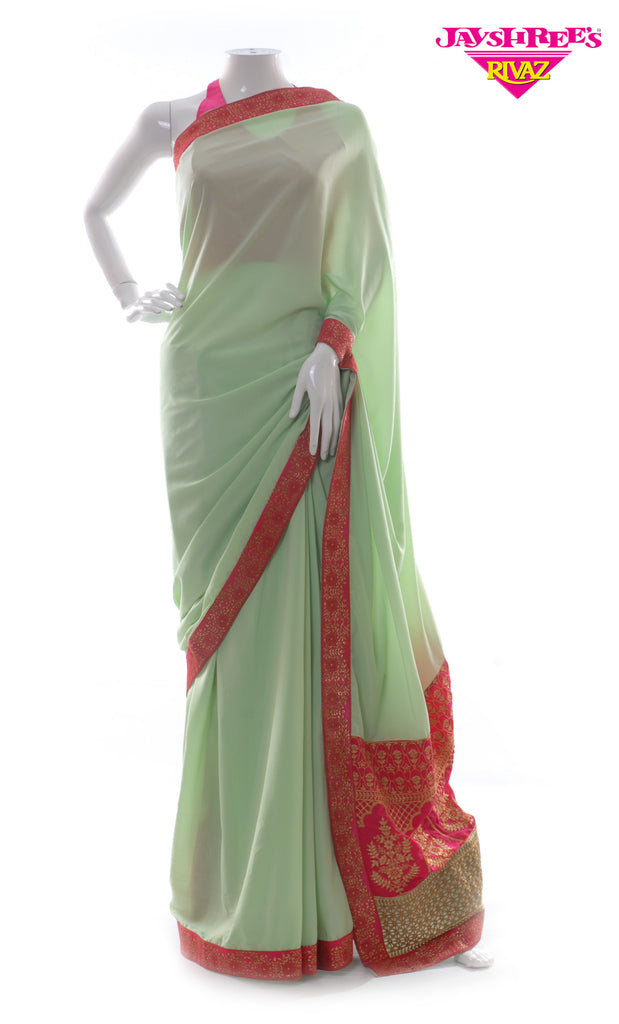 Light Mint & Cerise Sari