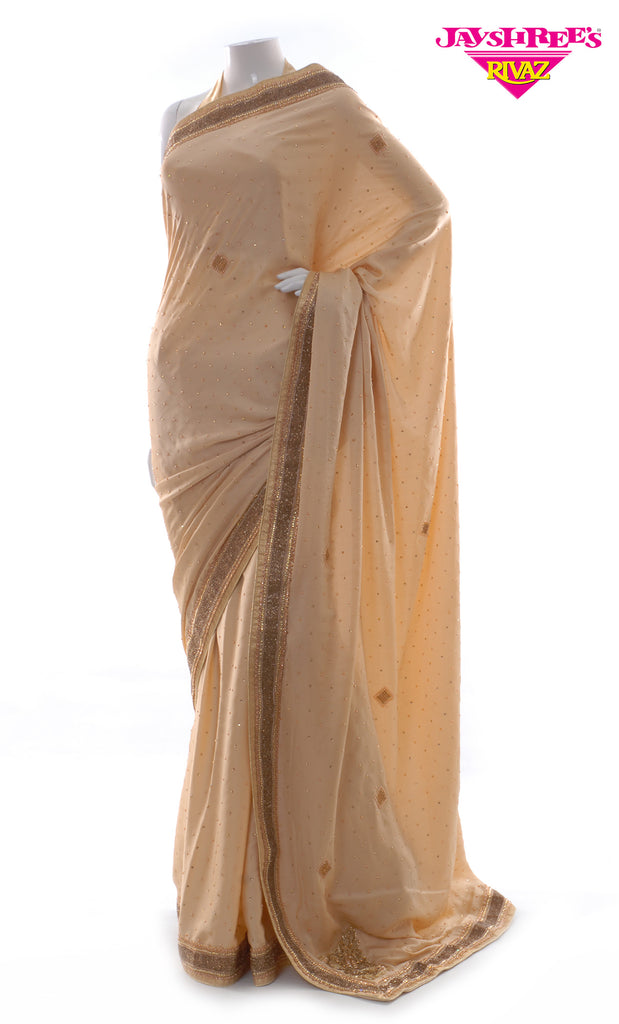 Light Beige & Bronze Sari