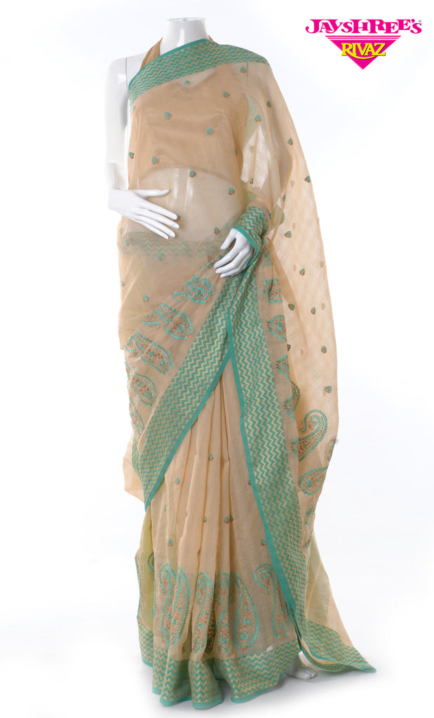 Beige & Green Cotton Sari