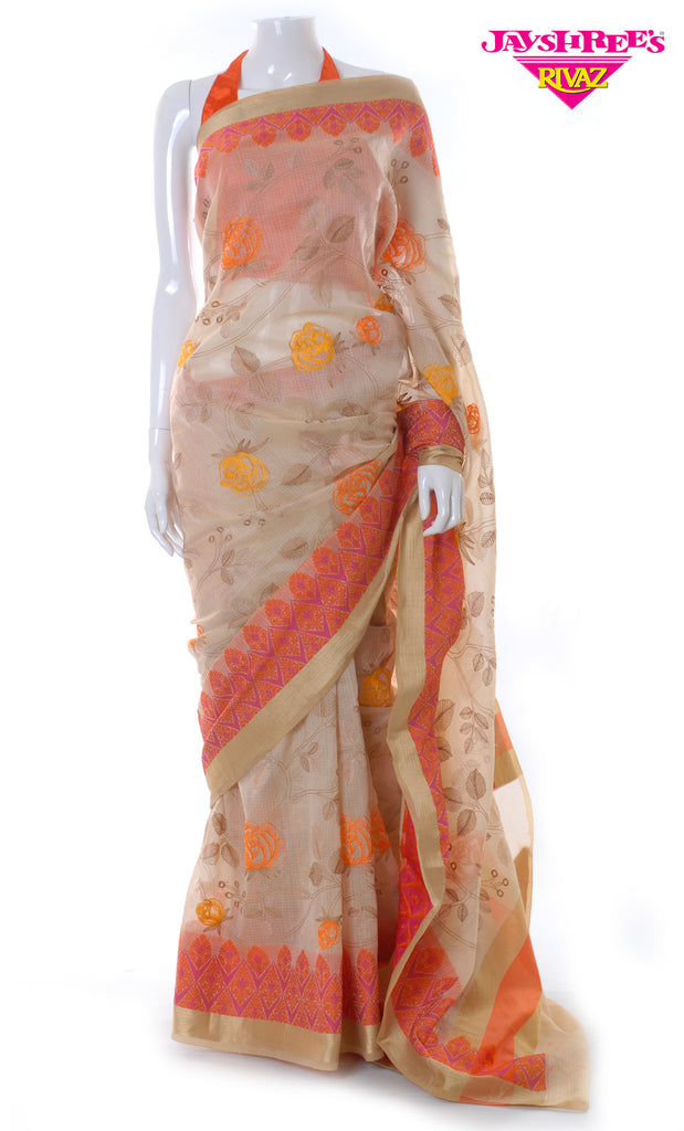 Light Beige & Orange Cotton Emb Sari