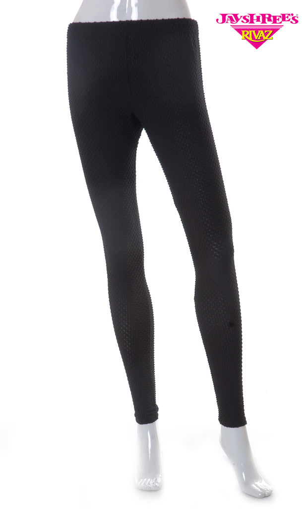 Black Embossed Leggings