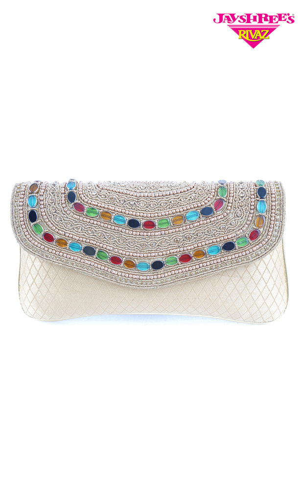Cream Beaded Clutch Bag - Jayshrees Online