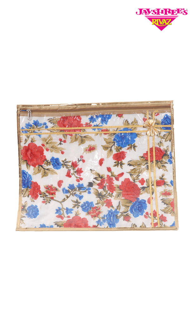 Blue & Red Floral Sari Cover - Jayshrees Online