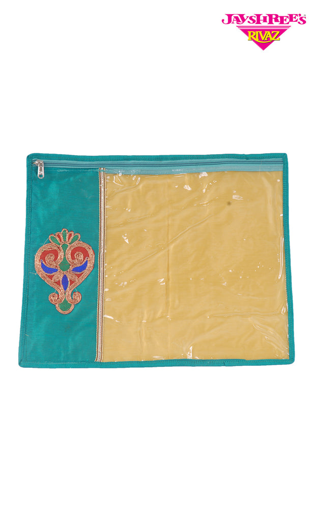 Teal Green Emb Sari Cover